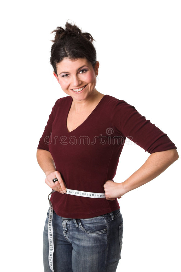 Woman having lost weight royalty free stock photography