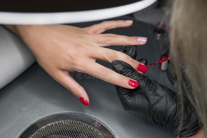Woman having a nail manicure in a beauty salon with a closeup view of a beautician applying varnish with an applicator royalty free stock photo