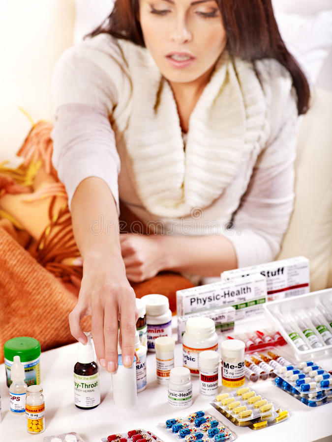 Download Woman Having Pills And Tablets. Stock Image - Image: 27442145