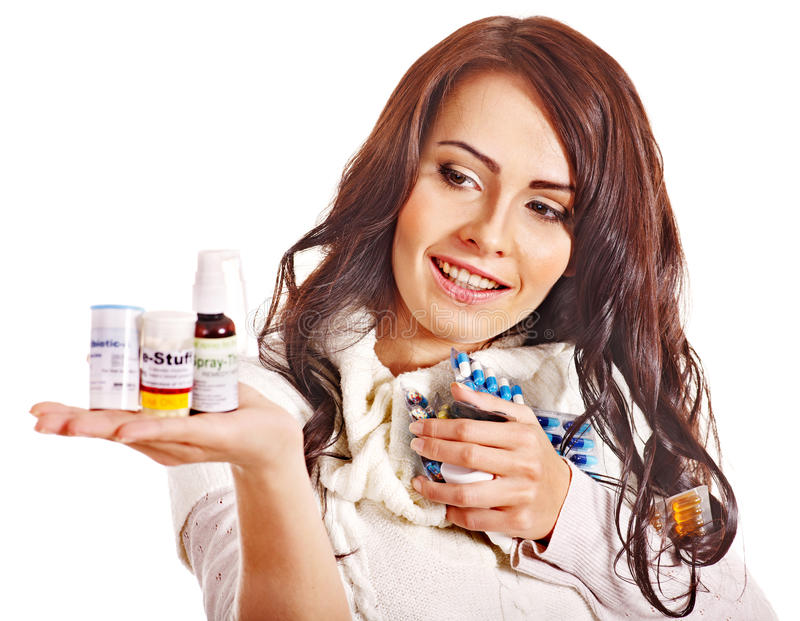Download Woman Having Pills And Tablets. Stock Image - Image of pill, pain: 28880531