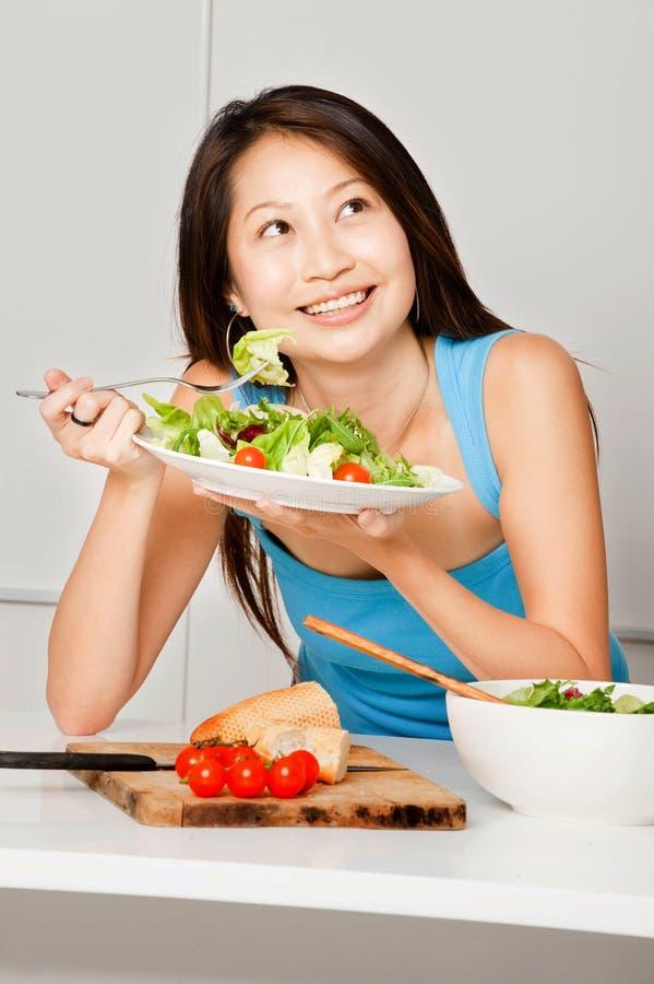 Woman Having Salad stock photography