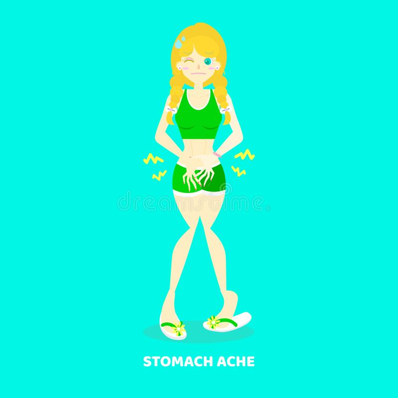 woman having stomach ache, abdominal pain, hungry, diarrhea, poisioning, health care disease symptoms concept, background vector illustration