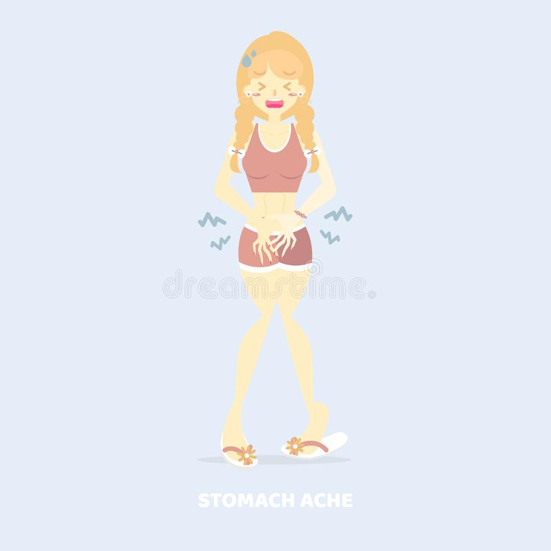 Woman having stomach ache, abdominal pain, hungry, diarrhea, poisioning, menstrual cramps health care disease symptoms concept stock illustration