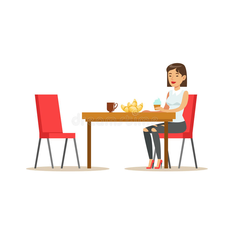 Woman Having Sweet Lunch, Drinking Coffee and Eating Pastry At Bakery Shop Table Vector Illustration. Happy Cartoon Character At The Cafe Flat Drawing From vector illustration