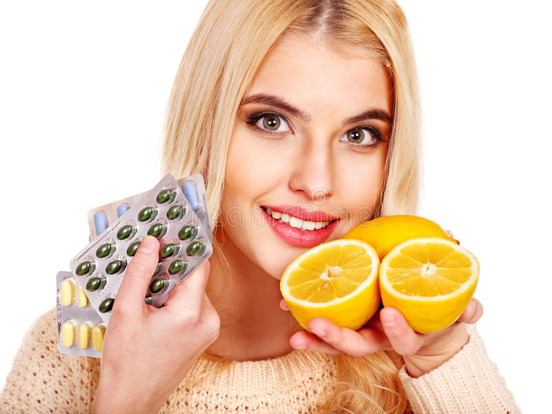Download Woman Having  Tablets And Lemon. Stock Images - Image: 28880534