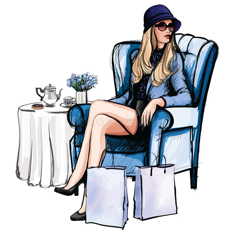 Woman having tea after shopping royalty free illustration
