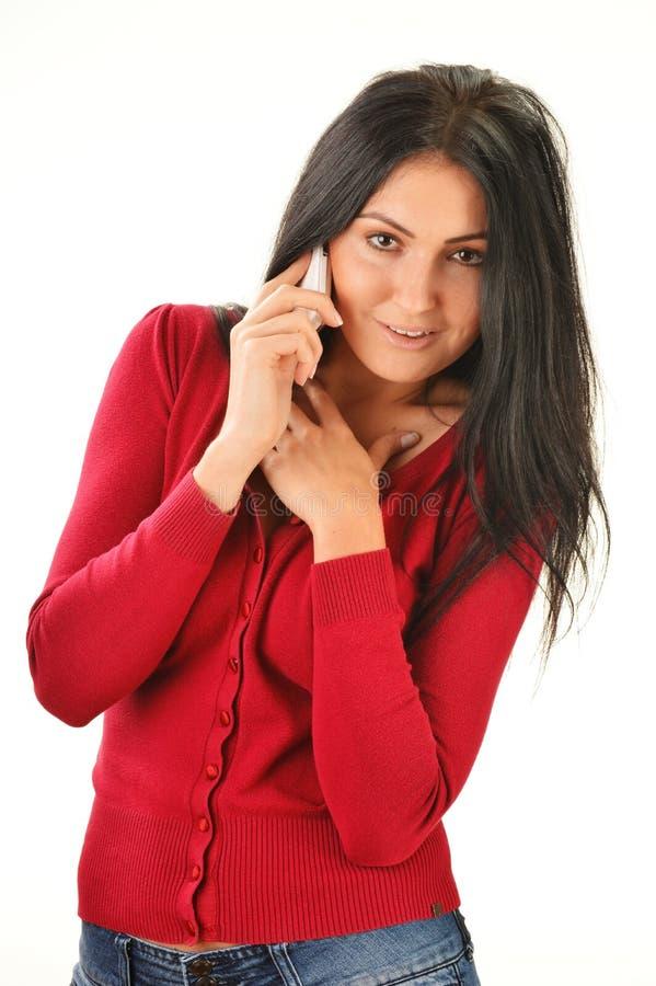Woman having telephone conversation royalty free stock image