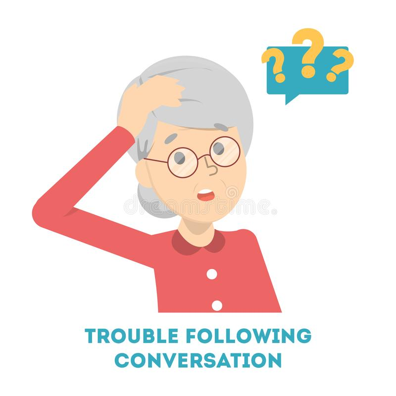 Woman having trouble in following the conversation stock illustration