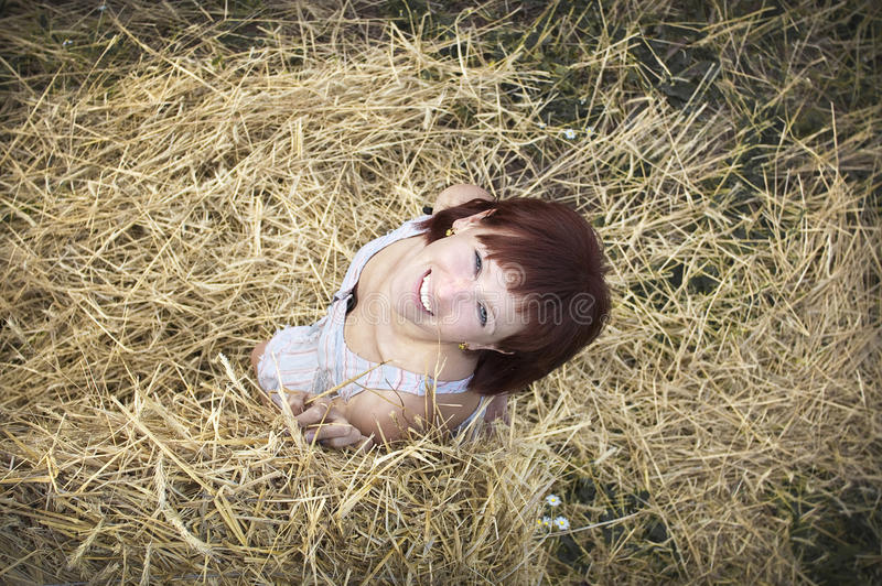 Download Woman on hay stock photo. Image of freedom, look, autumn - 26543828