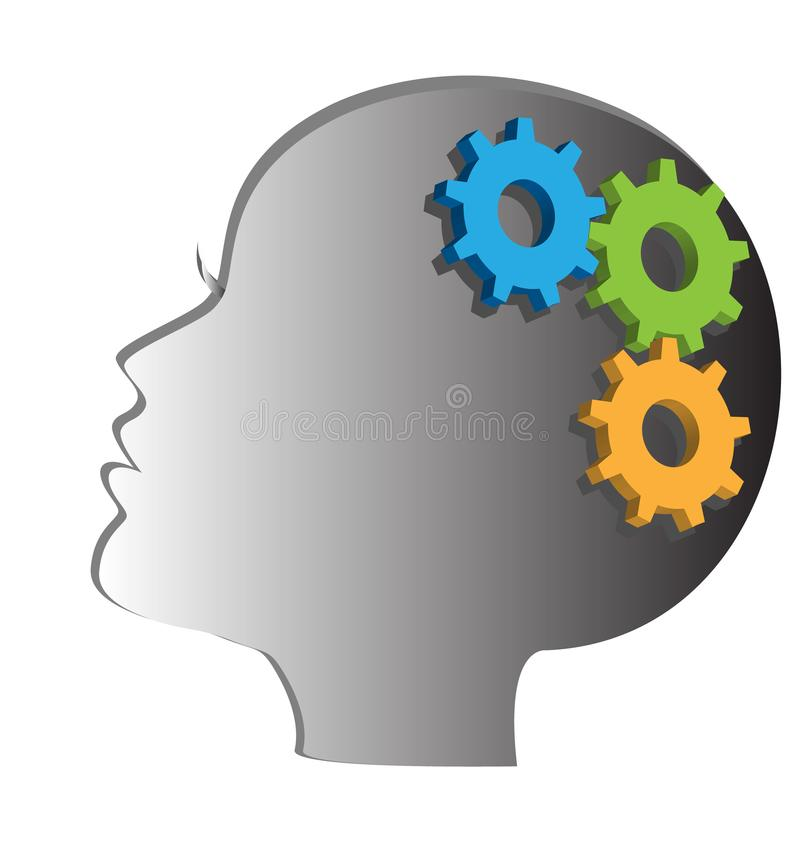 Woman head with gears and cogs. Thinking process, idea generation, brain functioning. Woman head with gears and cogs. Thinking process, idea generation, brain vector illustration