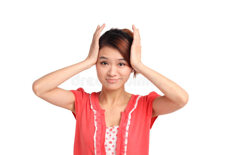 Download Woman with head in hands stock photo. Image of beautiful - 31256738