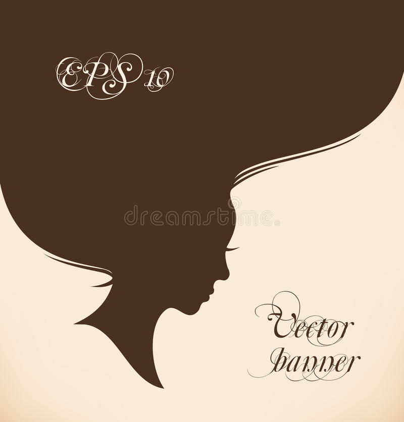woman head with long hear stock illustration