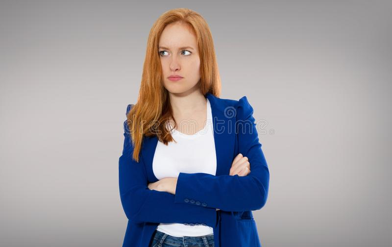 Woman head pain, Female migraine, Unhappy Young Adult Female Wearing Blouse, Hitting Her Head, Eyes Closed, Gesturing She Has Made royalty free stock photography