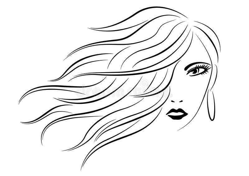 Woman head with wavy hair line art silhouette royalty free illustration