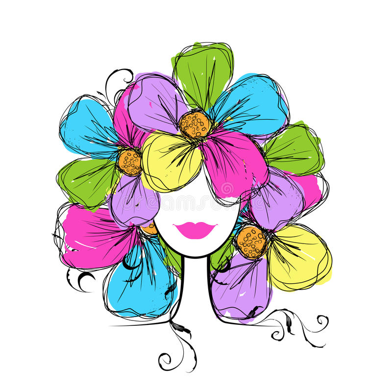 Free Woman Head With Floral Hairstyle For Your Design Royalty Free Stock Images - 32639259