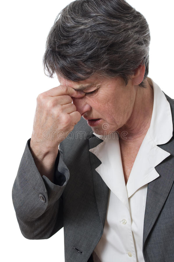 Download Woman with headache stock image. Image of ache, senior - 18595721