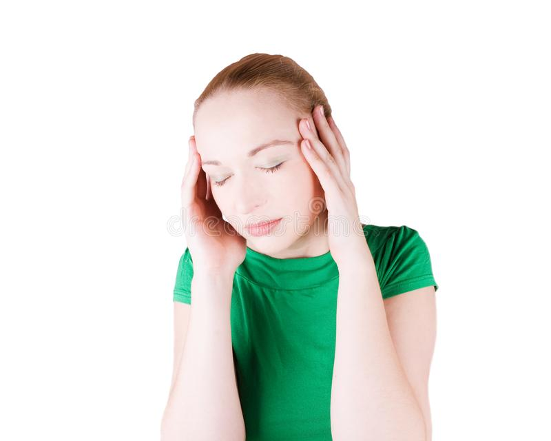 Woman with headache stock images