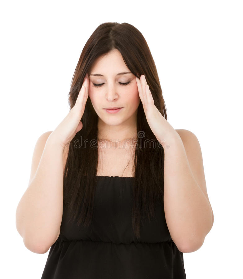 Woman headache. Woman expression in white background royalty free stock photography