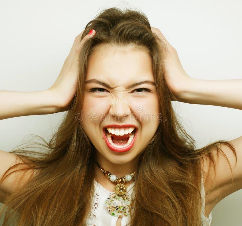 woman with a headache holding head royalty free stock photos