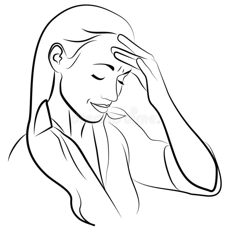 Woman with Headache. Simplified Sketch of a Woman with Headache vector illustration