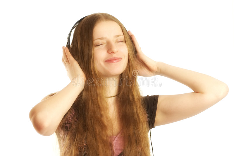 Woman with headphones royalty free stock photo