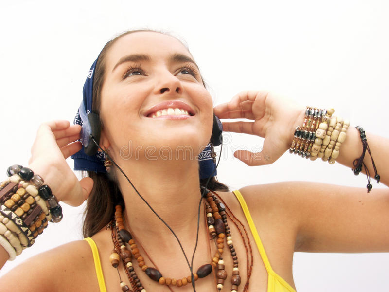 Woman headphones. royalty free stock image