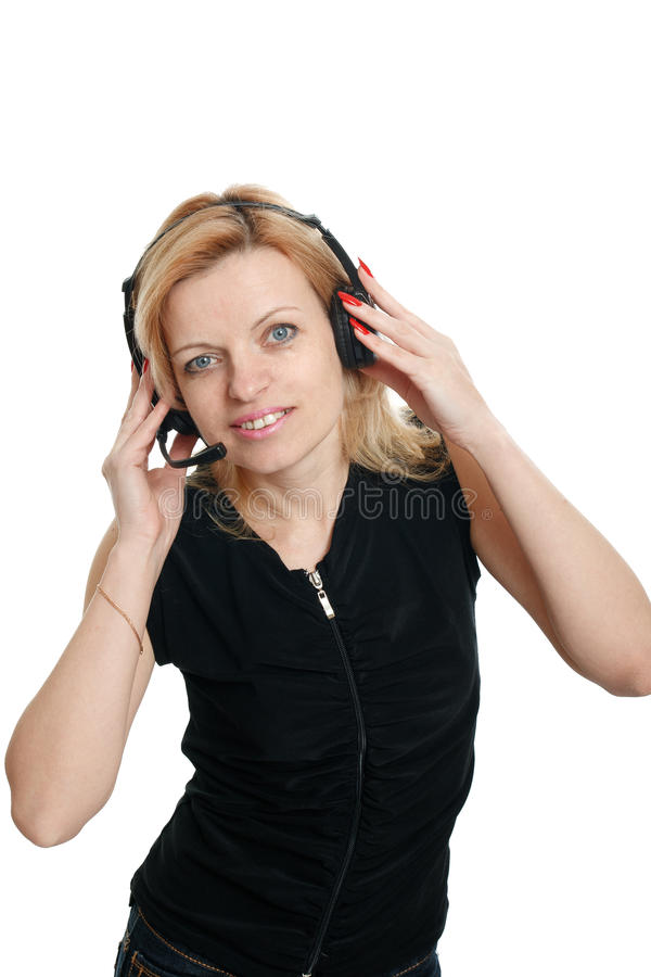 Download Woman in headphones stock image. Image of cute, lady - 25455155