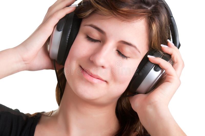 Woman With Headphones Stock Images