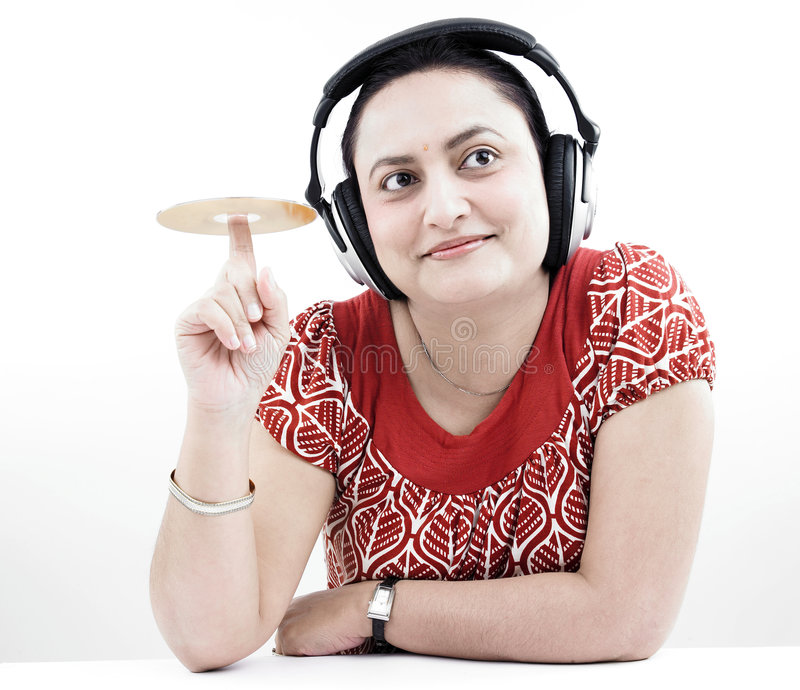 Download Woman With Headphones And Cd Stock Photo - Image: 7321388