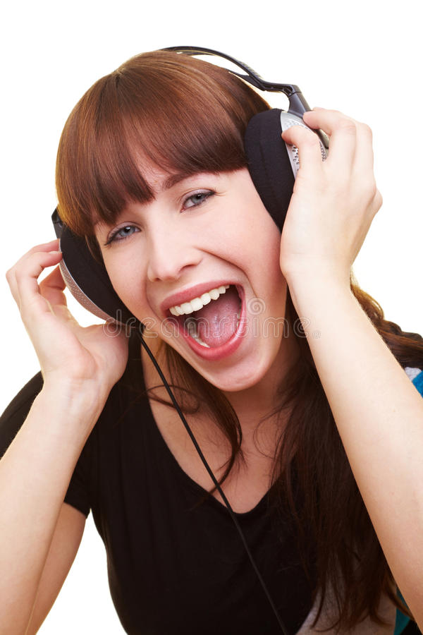 Download Woman With Headphones Screaming Stock Image - Image: 14862121