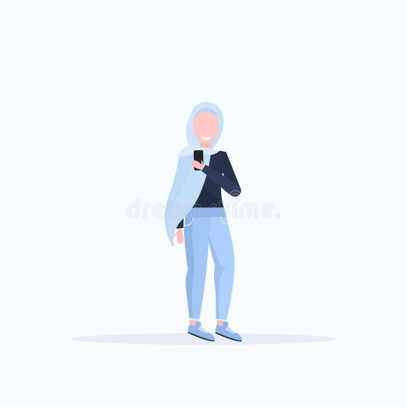 Woman in headscarf taking selfie photo on smartphone camera arab female cartoon character posing white background flat. Full length vector illustration royalty free illustration
