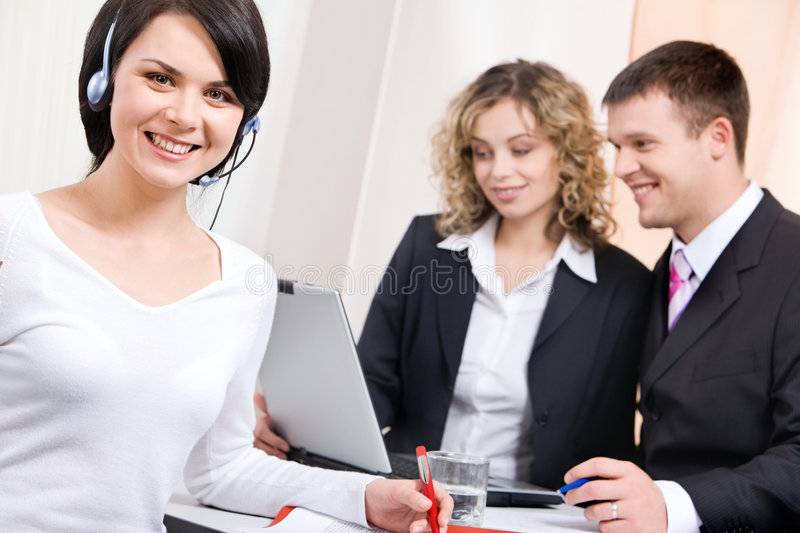 Download Woman with headset stock image. Image of phone, communication - 3510859
