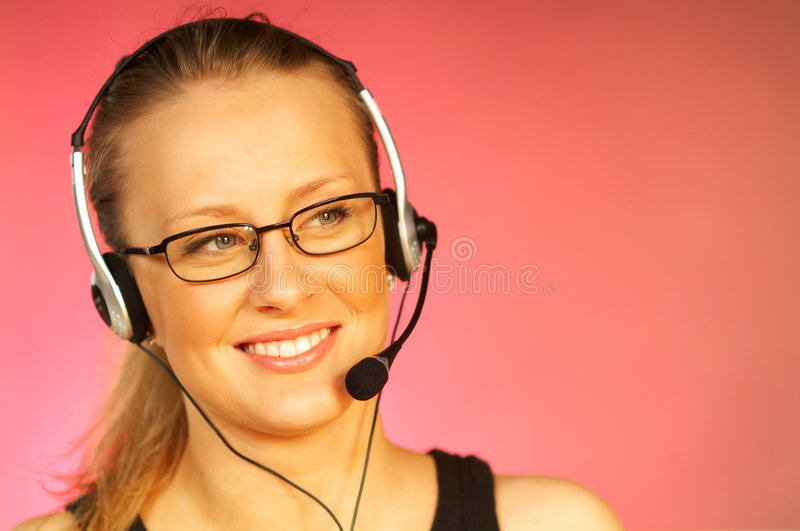 Download Woman with a Headset stock image. Image of background, help - 513817