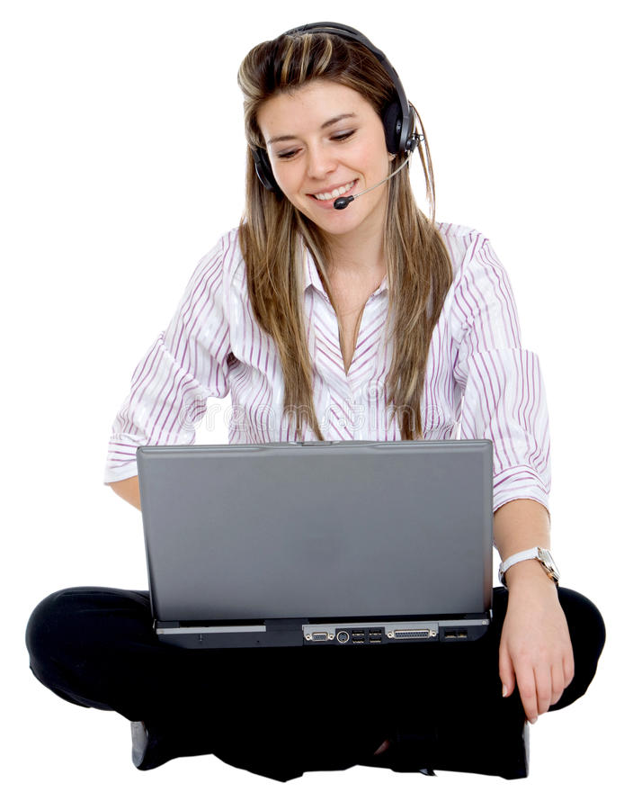 Woman with headset and computer