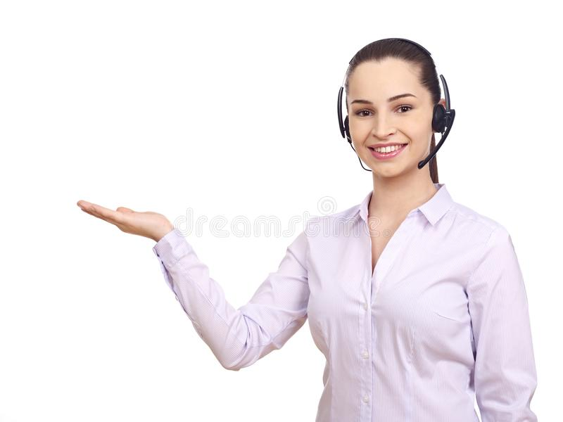 Woman with headset gesturing with hands stock images