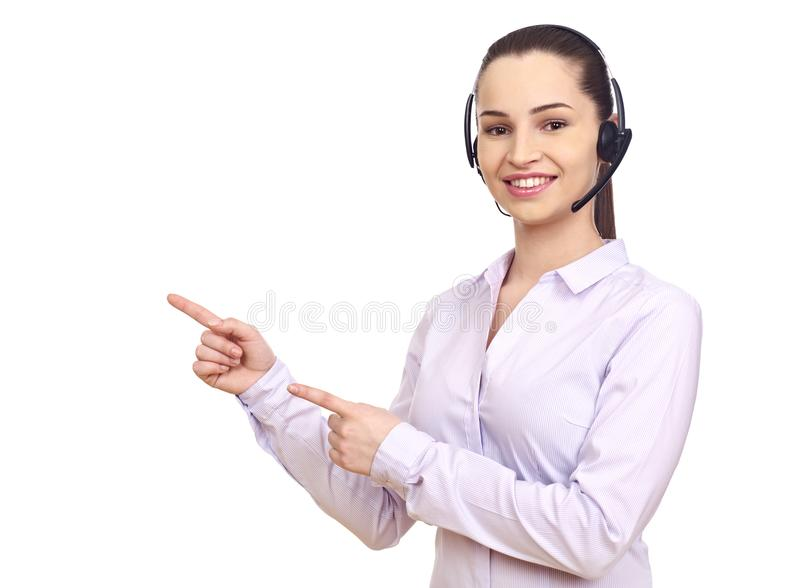 Woman with headset gesturing with hands royalty free stock photo