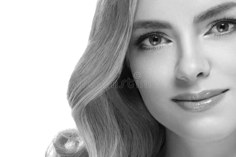 Woman headshot face blonde portrait closeup black and white royalty free stock photos