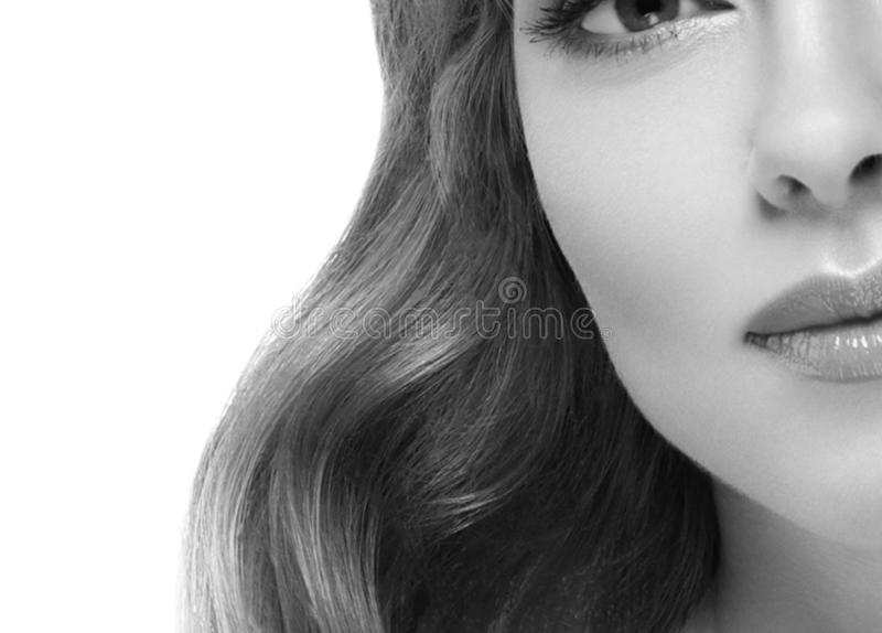 Woman headshot face blonde portrait closeup black and white stock image