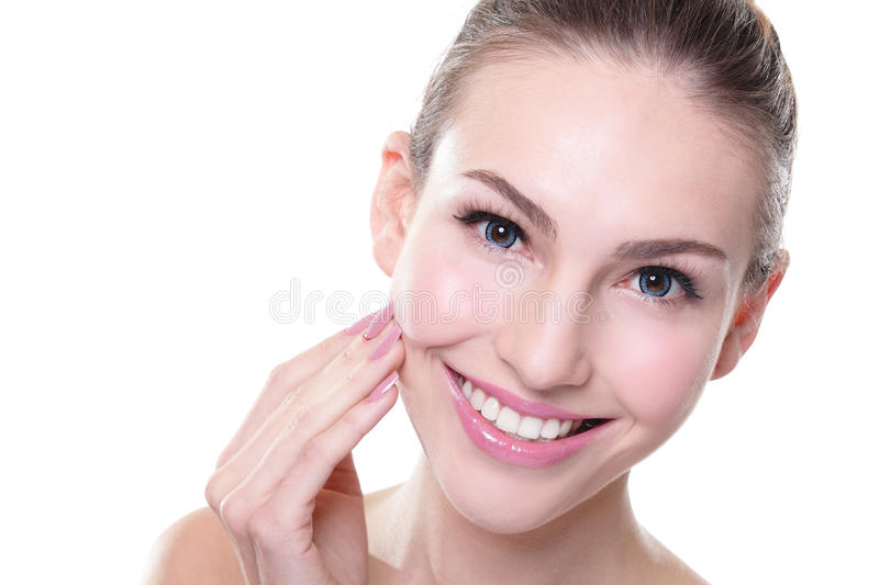 Woman with health teeth. Attractive smiling woman face with health teeth close up, dental care concept stock images