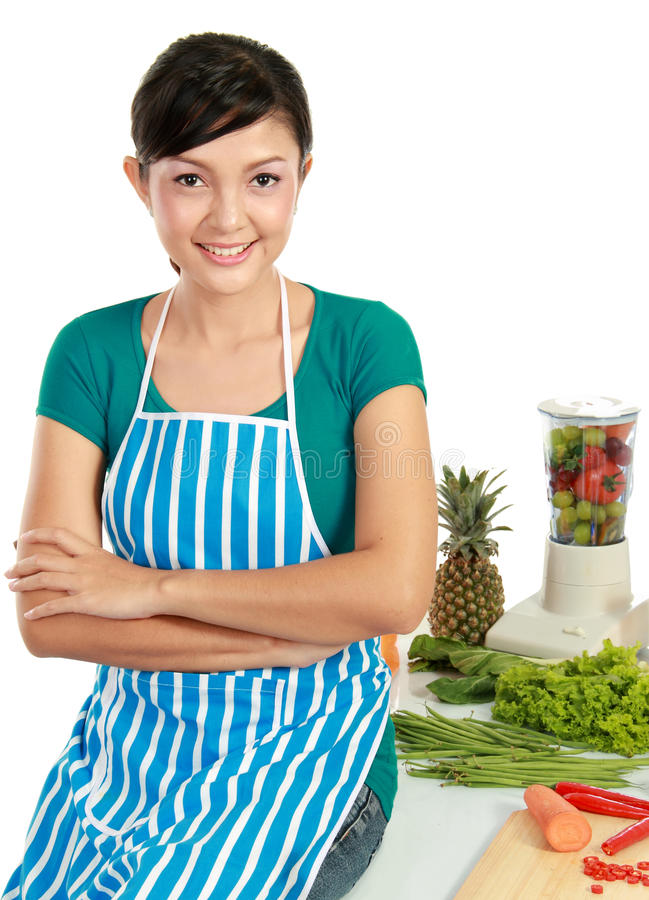Woman with healthy food. Young smiling woman with healthy food isolated Over white background stock images