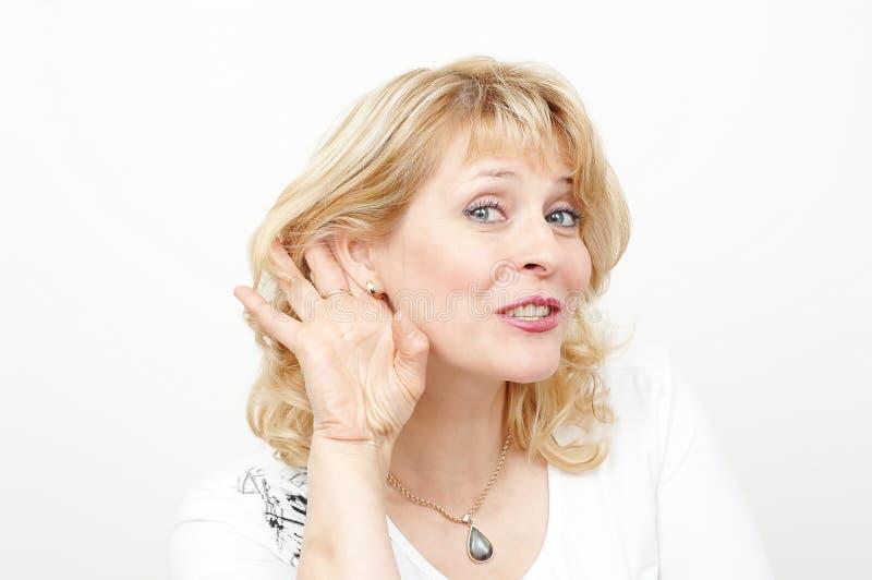 Woman hearing royalty free stock image