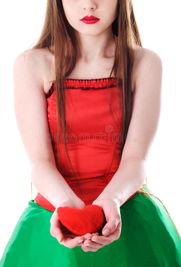 Woman With Heart In Hand Sad Stock Photo - Image of indoors, hope ...