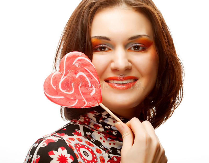 Download Woman with heart lolly pop stock image. Image of person - 17269877