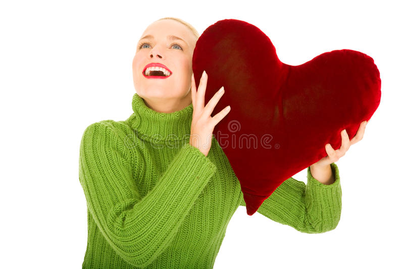 Woman With Heart-shaped Pillow Stock Image