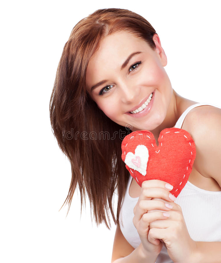 Download Woman with heart soft toy stock image. Image of background - 29001611