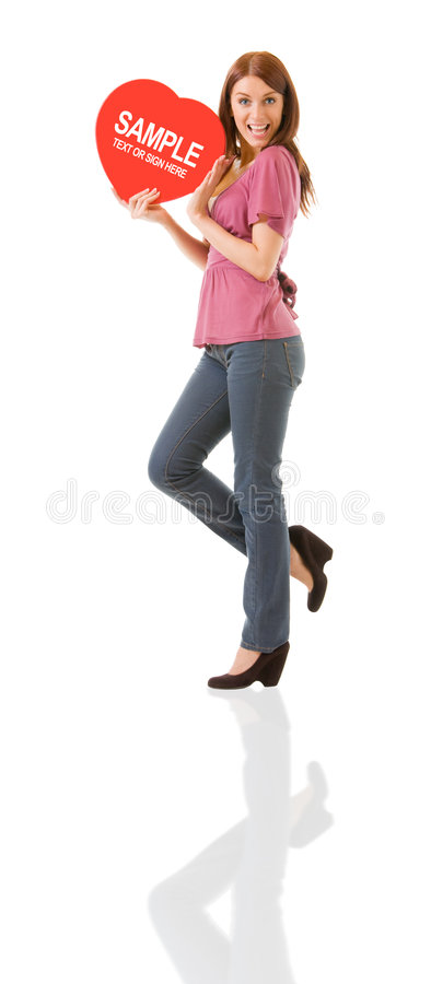Woman With Heart Symbol Stock Image