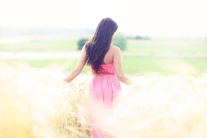 Woman in heaven fields of gold stock photos