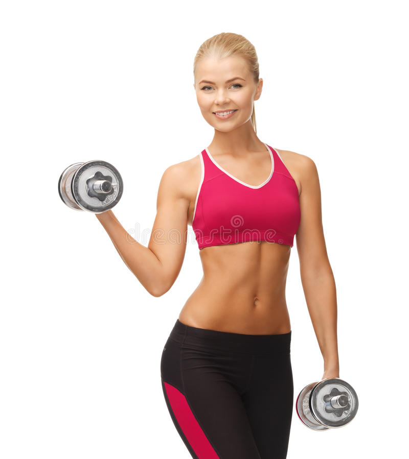 Woman with heavy steel dumbbells stock images