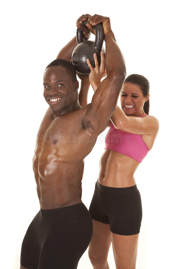 Woman Helping Man Lift Weight Side Him Smile Stock Photo