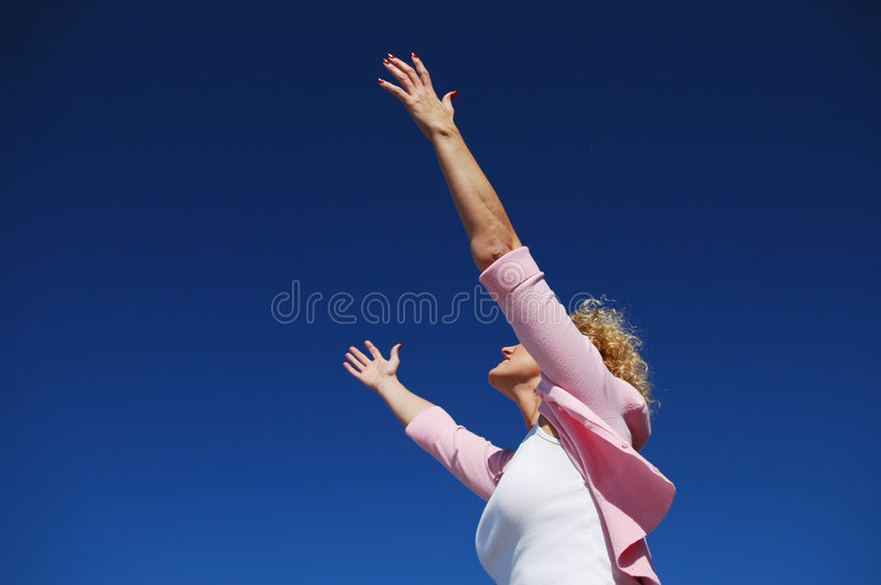 Download Woman With Her Arms Wide Open Stock Image - Image of happy, cheer: 3664689